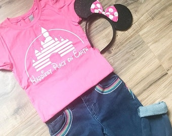 """CLEARANCE Cute Vintage Inspired Girl's Disney Shirt with Magic Kingdom Castle """"Happiest Place on Earth"""" Fitted Shirt for Girls - with Toddle"""