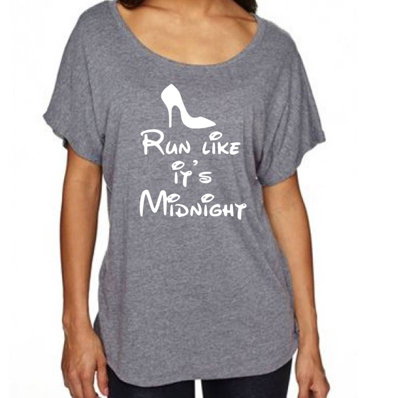 Women's Disney Loose Fitting T Shirt Run Like It's Midnight with  Cinderella's Glass Slipper Cute Top for Trip to Disneyland or Disney World