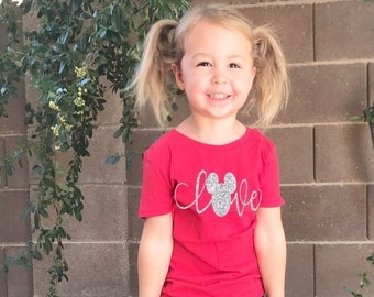 CLEARANCE GLITTER Girls Disney Shirt with love in cursive and Mickey Mouse Head as the O Perfect shirt to wear to Disneyland or Disney World
