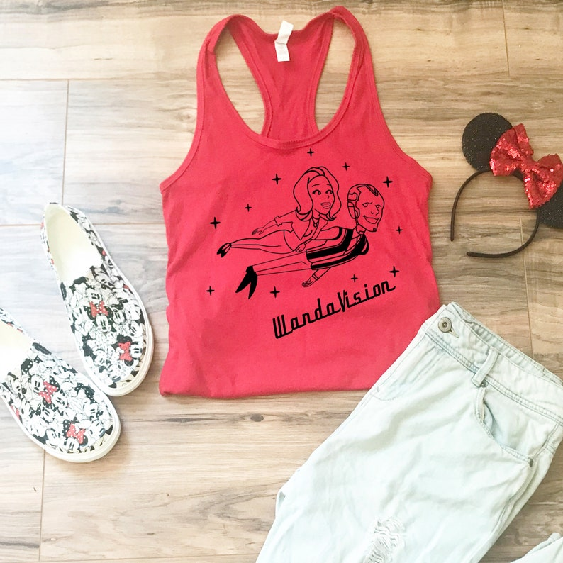 WandaVision Shirt- Gift Idea Wanda and Vision Shirt Women/'s Disney Fitted Tank Top Wear to Disneyland or Disney World