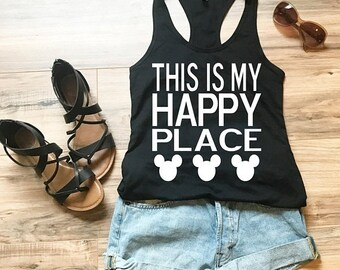"""CLEARANCE Women's Disney Tank Top """"This is my Happy Place"""" with Mickey Mouse Ears Perfect Shirt for trip to Disneyland or Disney World"""