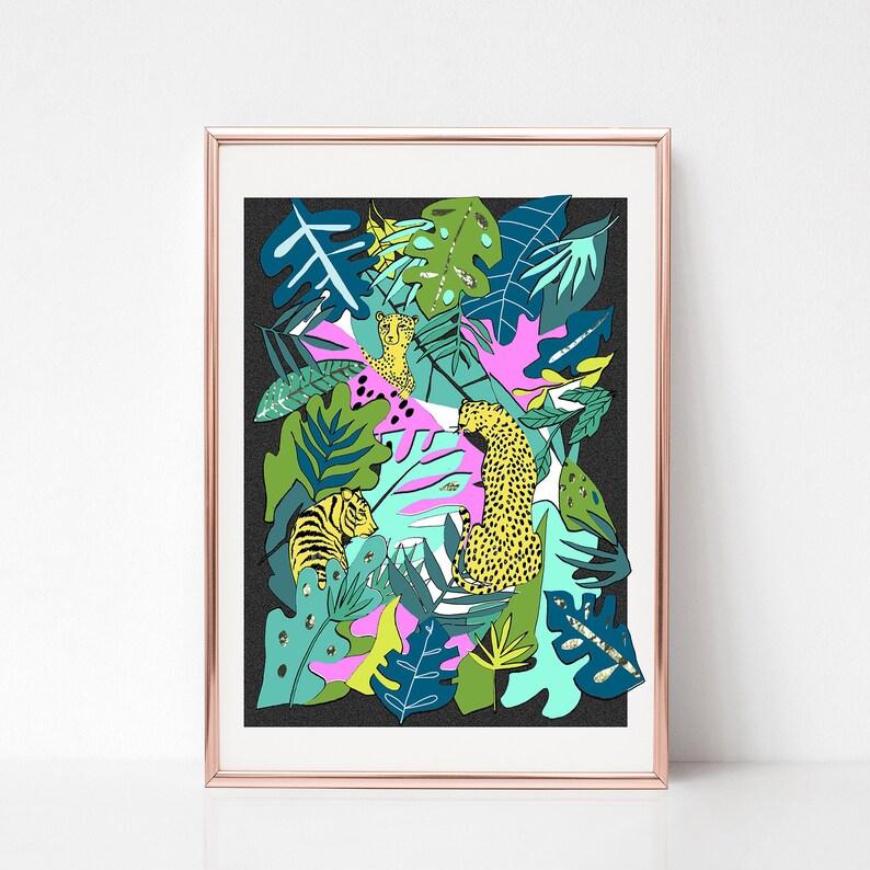 Leopard Tiger print Jungle printCheetah illustration Animal image 0