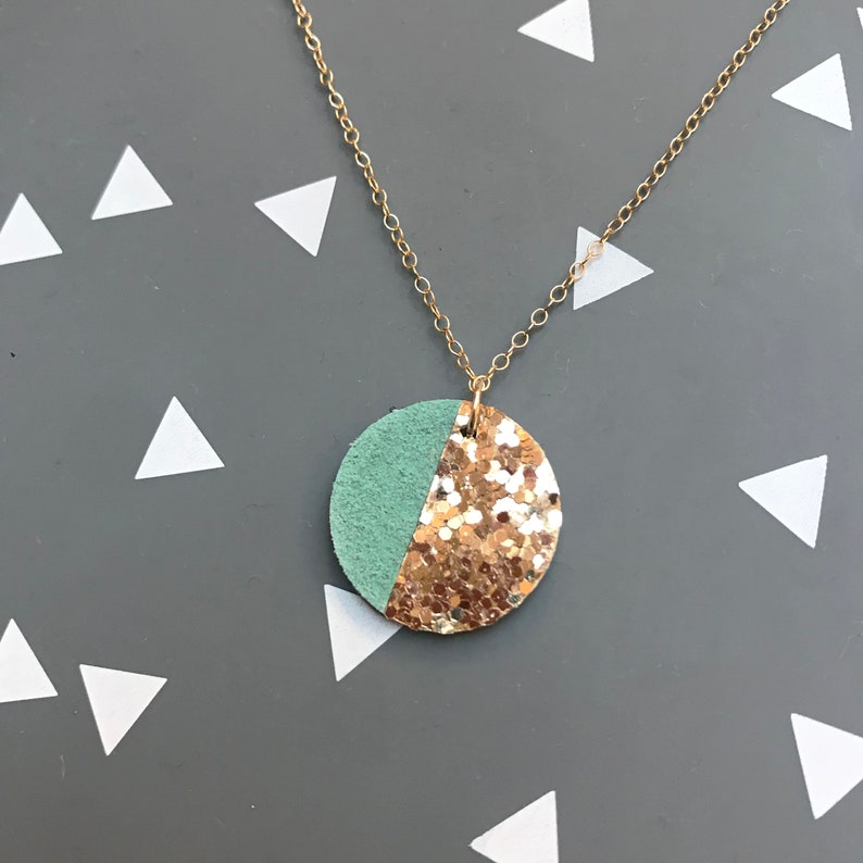 Circle necklace leather gold glitter modern necklace image 0