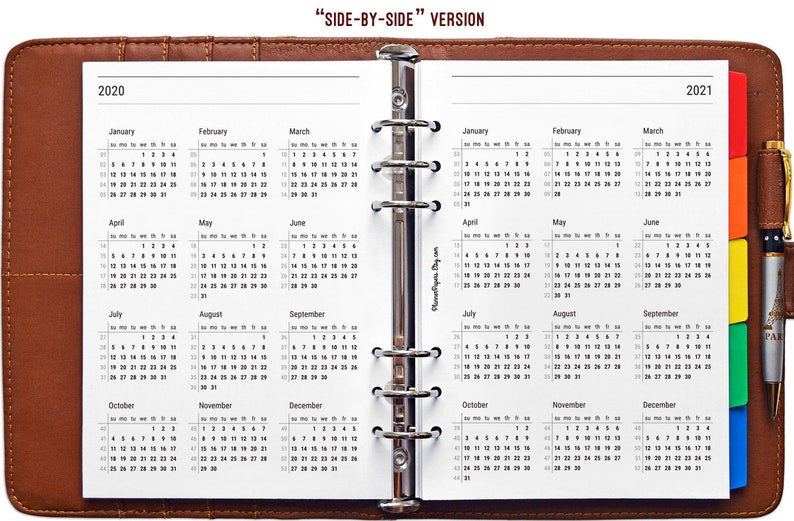 A5 Printable 2020 and 2021 Planner Calendar with Week ...