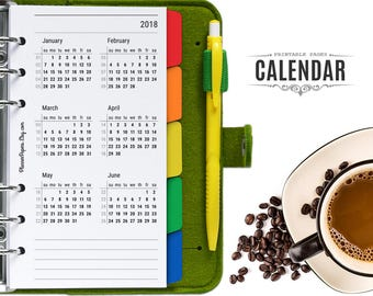 Personal Size Printable 2018 and 2019 Planner Calendar with Week Numbers – Filofax Year at a Glance Calendar Printable PDF Kikki K Insert