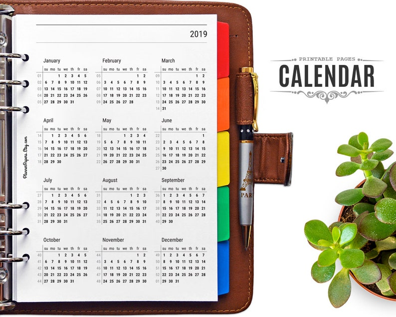 Uva Calendar 2020 A5 Printable 2019 and 2020 Planner Calendar with Week Numbers | Etsy