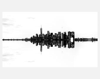 Monochromatic Manhattan NYC Skyline Reflection Fine Art Cityscape Signed Photographic Piece   Acrylic Metallic Print (30x54)   LE-0005
