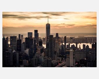 Lower Manhattan Aerial Skyline Sunset II Fine Art Cityscape Signed Photographic Piece   Acrylic Metallic Print   LE-012