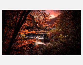 Vibrant West Virginia Fall Colors Fine Art Landscape Signed Photographic Piece   Acrylic Metallic Print   MC-001