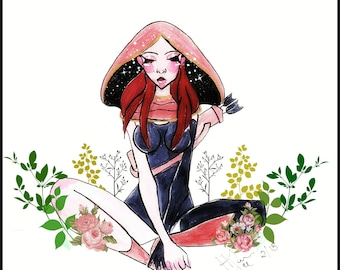 Lilith in a puddle of flowers
