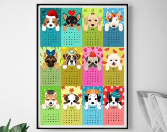 Nursery calendar 2018 Wall calendar Kids room calendar 2018 Colorful calendar with funny dogs Print at home Poster print Gift for kids