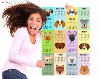 Wall calendar 2018 Nursery calendar 2018 Kids room calendar Puppy calendar Cute puppies Dog calendar Dog print New Year gift Printable dogs