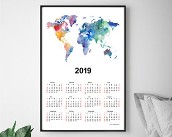 World map calendar etsy calendar 2019 world map poster gumiabroncs