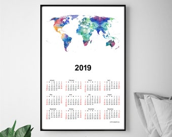 World map calendar etsy wall calendar 2019 world map gumiabroncs Gallery