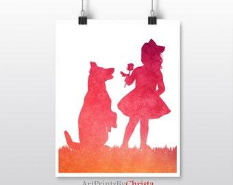 Girl and dog print Holding a flower Tutu dress German Shepherd print Instant download Nursery print Kids room decor Little girl art