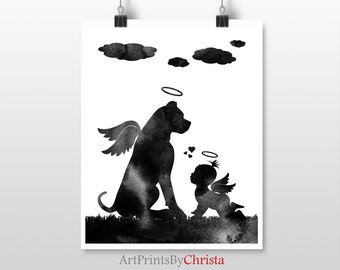 Dog with wings Rose gold Dog passing gift Instant download Pit bull with wings and a halo Baby and dog art print Memorial art