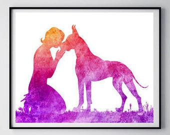 Pets gift Great Dane print Woman with great Dane Dog print Dog poster Kissing her dog Modern wall art Poster print Watercolor painting