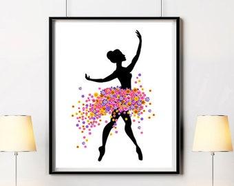 Ballerina print Dress with flowers Printable art Large poster Wall decor Ballet art Minimalist art Dancer decor Girly art Digital print