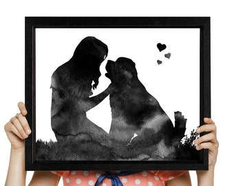 Woman is kissing a Newfoundland Dog art Watercolor print Dog print Woman and dog digital print Dog lovers gift Instant download