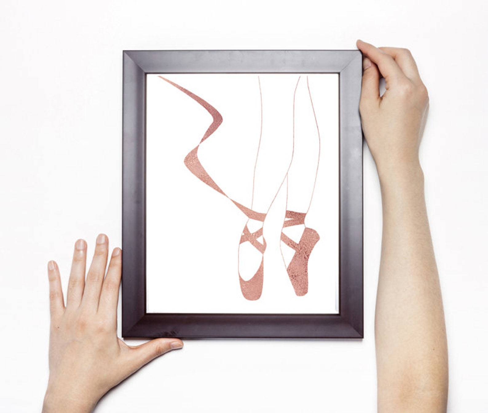 girls room wall art, ballet slippers, rose gold watercolor, ballet shoes, wall art, ballerina legs, poster print, gift for balle