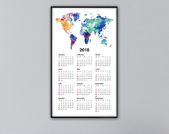 World map 2018 etsy calendar 2018 wall calendar 2018 world map print wanderlust gift world map calendar 40x70cm travel gift gumiabroncs
