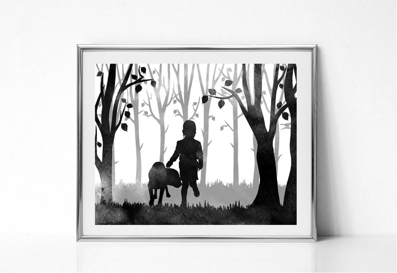 Woodland nursery Mothers day gift Instant download Printable Watercolor painting Little boy and dog Labrador art print Forest print