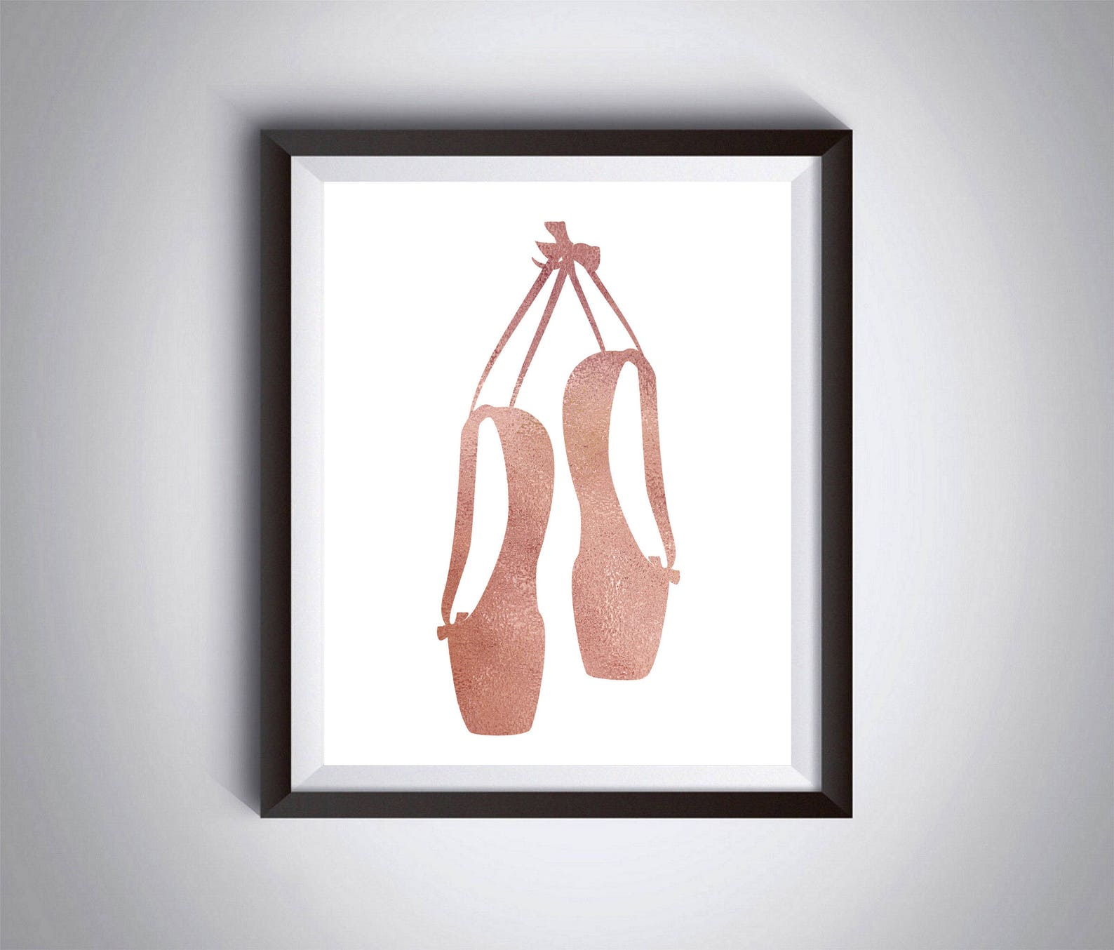 ballet slippers, ballet shoes, rose gold watercolor, girls room decor, ballerina gift, digital poster print, dancer wall art
