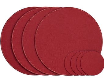 Red Round Placemats / Recycled Leather Placemats And Coasters For Round  Tables / Table Mats / Dining Placemats / Table Set / 13u0027u0027 (33 Cm)