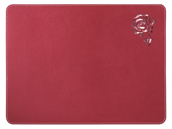 Red Placemats / Recycled Leather Place Mats / Rose Table Mats