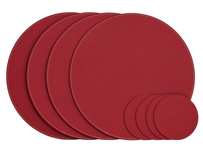 Samll Round Placemats / Recycled Leather Place Mats And Coasters For Round  Tables / Place Mats 11u0027u0027 (28 Cm) / Table Mats / Dining Place Mats