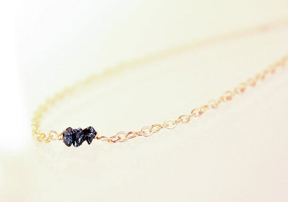 Black Diamonds Gift for Christmas Diamonds Necklace Rough Raw Diamond Jewelry for Her Festive Occasion 925 Gold
