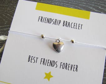 BFF Best Friend forever bracelet and his little heart - bracelet cord with personalized card - Creation of sparkle
