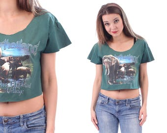 f26f18f59854f Cropped Summer Top 80s Elephant Shirt Vintage Animal Print Green Beige Blue  CROP Printed T-Shirt Cotton Cut Off Raw Edges . Small Medium