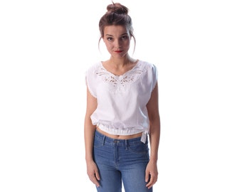 fb6a2666abbe2 Bali Top Cutwork Blouse 80s BUTTERFLY Cut Out Crop Embroidered White 1980s  Bohemian Cap Sleeves Vintage Cotton Tie Waist Shirt Medium