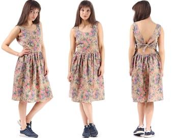 dcfb3b5a8a Backless Overall Dress 80s Floral Boho Midi Sundress Beige Ditsy Back Tie  Waist Sleeveless Pleated Skirt Cotton Hipster Summer Dress Medium