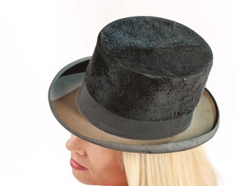 Antico Top Vintage collezione pelliccia cappello Steampunk Gentleman Black  Top Hat regalo idee Scrooge cappello stufa tubo cappello da Sposa Costume. 875a4737a687