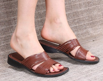 63ad20cceb9a Women Us 8.5 Flat Sandals 90s Brown Leather Multi Strap Grecian Mules Low  Heel Slip On Sandals Sliders Summer Shoes Open Toe Uk 6 Eur 39