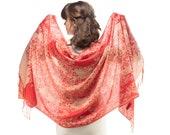 Pashmina Scarf Shawl Pastel Red Pink Floral Fringed Fringe Large Wedding Scarf Festival Pashmina Winter Shawl New Women Men Scarf GIFT IDEA