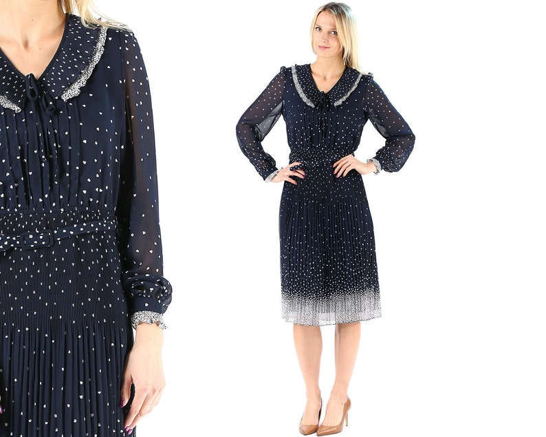 56da731016af 1970s Dress Navy Blue Chiffon Dress Heart Print Ruffle Pleated