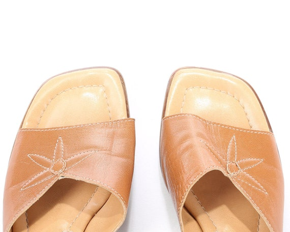 Beige 39 Open Us Leather Clogs Size Vegan 5 Chunky Mules WIDE Sandals 8 Toe FIT Slingback Faux 6 5 Heel Sandals 80s 8 Sliders Eur Uk wTzpT1Rx