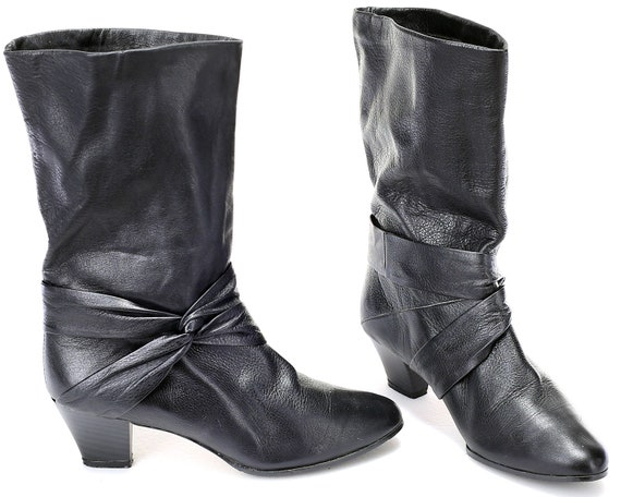 e46b67f4ad12 US size 7.5 Slouch Cone Heel Boots 80s Pull On Black Leather