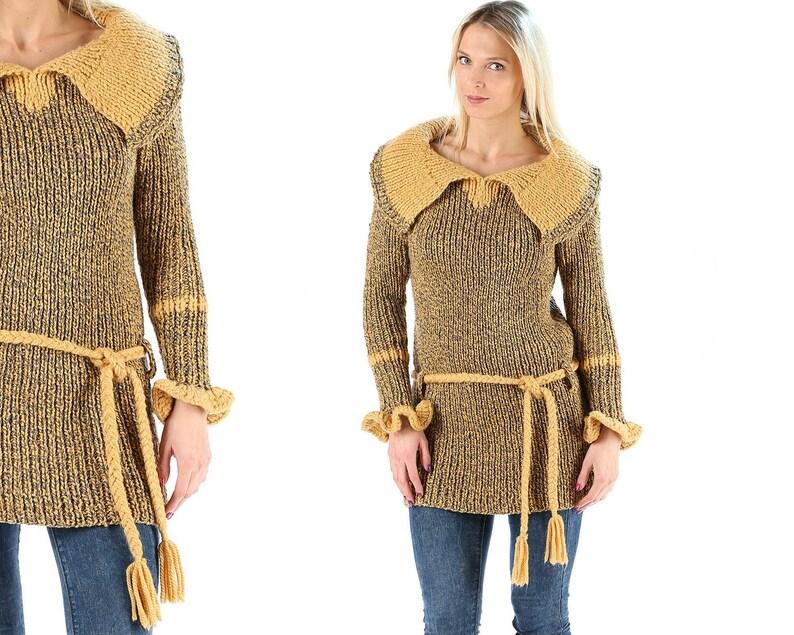 Boho Sweater 70s Chunky Knit Rope Belt Sweater Sailor Collar  08c079772