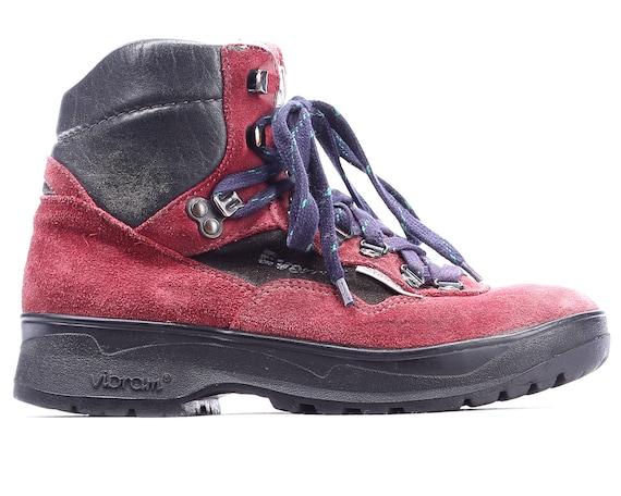 80s Black Top 5 Vintage Women Top 37 7 High Eur 5 sz Hiking Suede Hi Sneakers Vintage Survivor 4 UK Red 1980s US Hiking Booties Boots Boots Y67wqnq