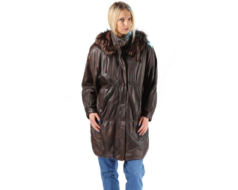 bcfc6268263d Leather Puffer Parka Hooded Coat 80s Fox Fur Trim Hooded Brown