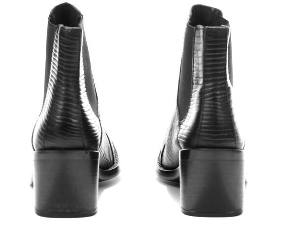 90s Faux Beatle Eur Vegan Black Leather 6 Booties Boots 5 Uk Boots Ankle Chelsea US Vintage 4 Textured 37 Leather Faux women Women Boots w0SWY