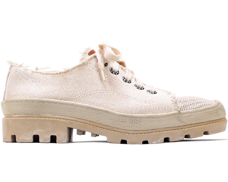 9396f0c286b4 US women 10 Platform Sneakers Cream White Woven Canvas