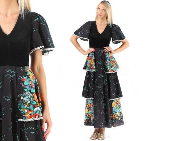 Maxi Dress 70s Empire Waist Festival Dress Bell Sleeve Vintage Etsy