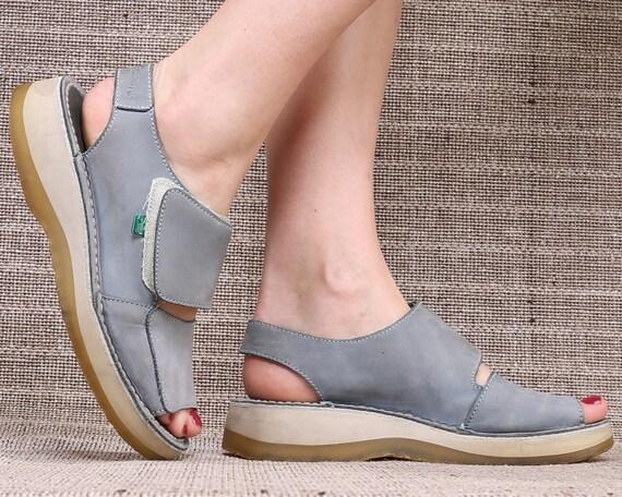 b98a1ce4828 US size 7.5 Blue Platform Sandals 90s Wedges Vintage KICKERS