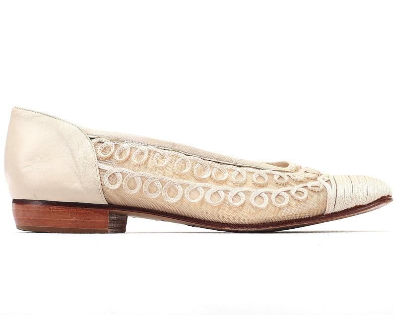 9095a93516747 US 6 White Wedding Ballerinas Sheer Mesh Ballet Shoes 80s Vintage Cream  White Flats Low Heel Leather Sole Slip On Flats EUR 36 UK 3.5