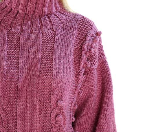 d46b6272de0 Turtleneck Wool Sweater 80s Oversized Hand Knit Sweater Dress